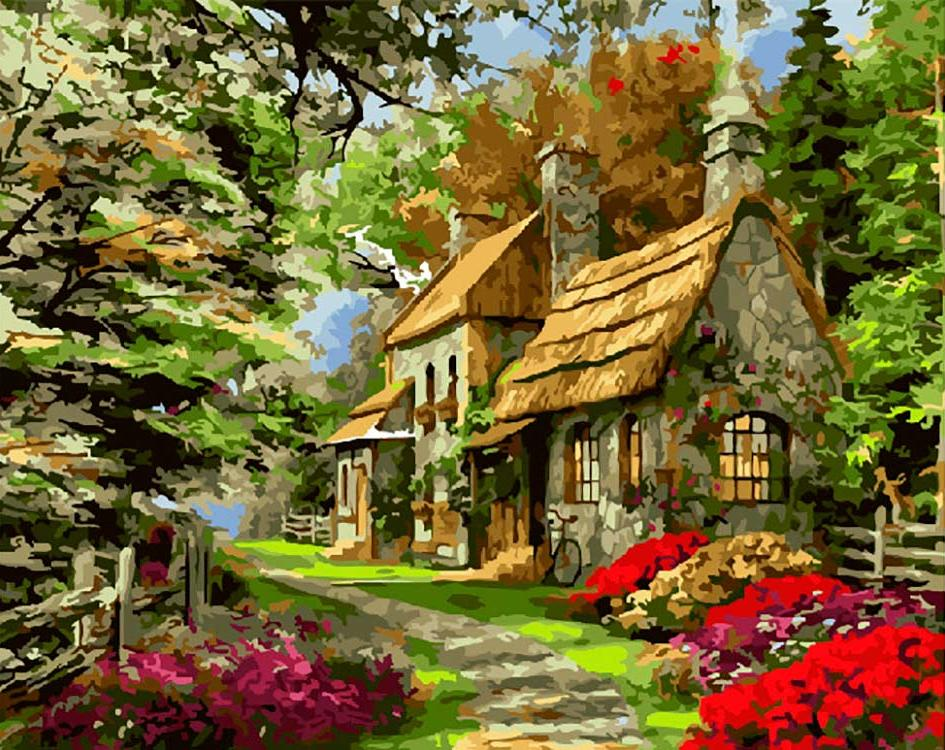 Сказочный домик в лесу картинки